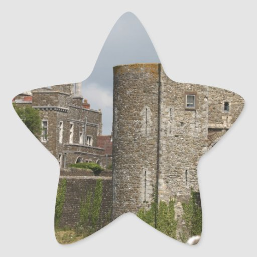 Destino medieval del fiesta del castillo de los pegatina en forma de estrella