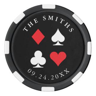 Destino personalizado casando rojo del negro del fichas de póquer