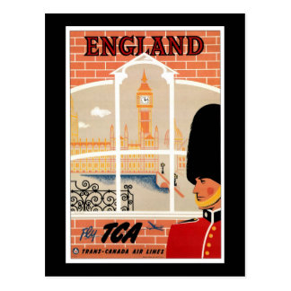 Destino: Poster del viaje de Inglaterra Tarjeta Postal