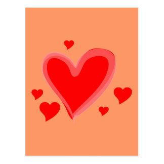 Destino rojo del amor de la paz de los corazones postales
