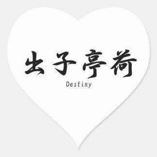 Destino traducido a símbolos japoneses del kanji calcomania corazon