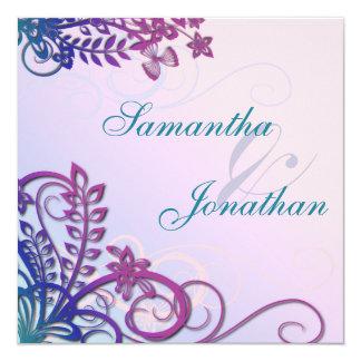 Destino tropical floral de la invitación del boda