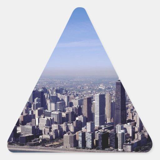 Destino ventoso de los edificios del parque de la calcomania trianguloada