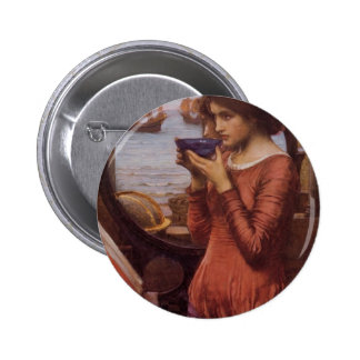 Destiny by JW Waterhouse, Vintage Victorian Pinback Button