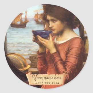 Destiny J. W.  Waterhouse Pre-Raphaelite Bookplate Classic Round Sticker