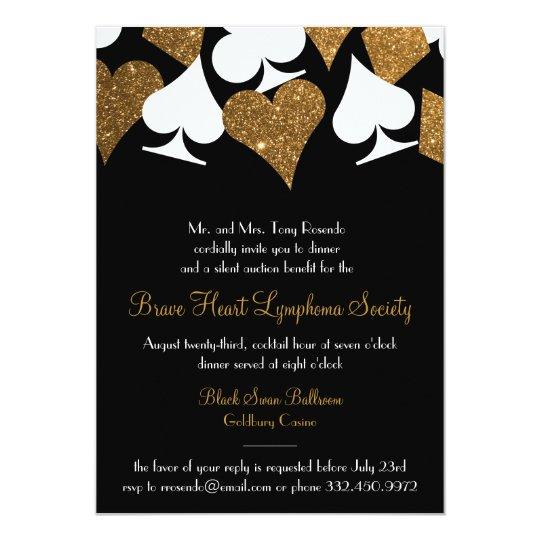 Destiny Las Vegas Casino Party Faux Gold Glitter Invitation Zazzle Com