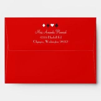 Destiny Las Vegas Wedding Invitation Red Black Envelopes