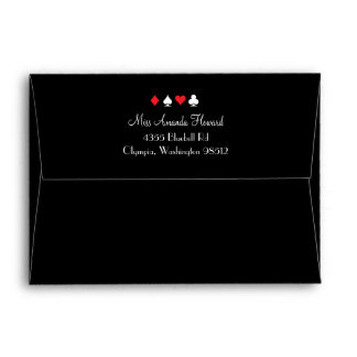 Destiny Las Vegas Wedding Invitation Red Black Envelope