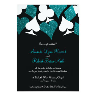 Destiny Las Vegas Wedding Invite Teal Blue Glitter