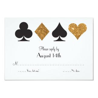 Destiny Las Vegas Wedding reply faux gold glitter 3.5x5 Paper Invitation Card