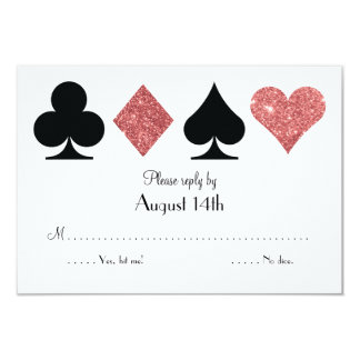Destiny Las Vegas Wedding reply rose gold glitter 3.5x5 Paper Invitation Card