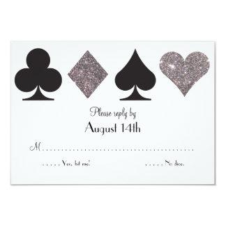 Destiny LasVegas Wedding reply faux silver glitter 3.5x5 Paper Invitation Card