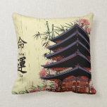 destiny luck kanji japanese pagoda cherry blossoms pillows