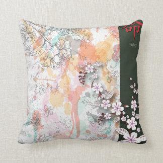 destiny oriental floral splash vector throw pillow