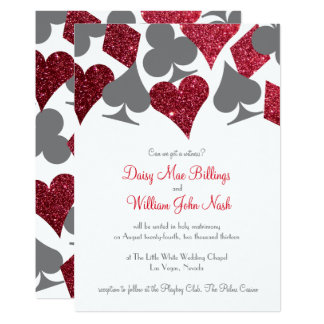 Destiny Vegas Red and Gray Faux Glitter Wedding Card