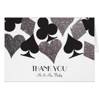 Destiny Vegas Thank You Card Faux Silver Glitter