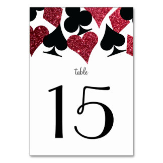 Destiny Vegas Wedding Reception Red Faux Glitter Table Number