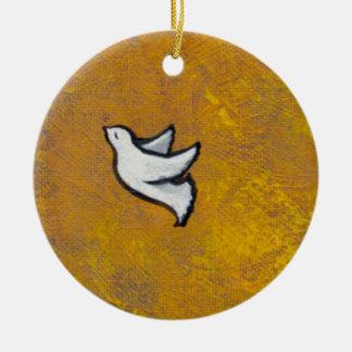 Destiny white dove bird flight pretty painting art christmas tree ornaments