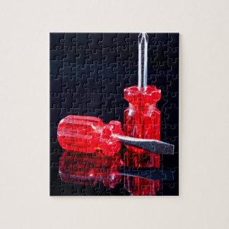 Destornilladores rojos brillantes - impresión de puzzle