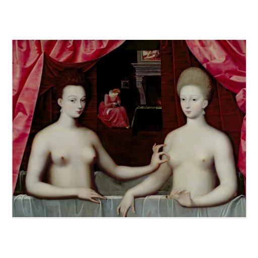 d'Estrees de Gabrielle y su hermana Tarjetas Postales