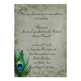 Destressed Green Peacock Design Wedding Personalized Announcements