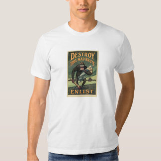 Destroy This Mad Brute - WWI Army Recruiting Tee Shirt