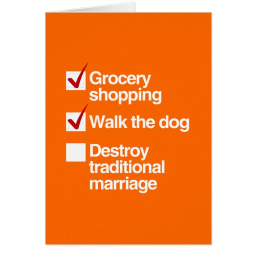DESTROY TRADITIONAL MARRIAGE CARDS