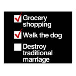 DESTROY TRADITIONAL MARRIAGE POST CARDS