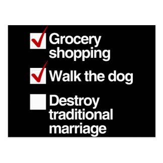 DESTROY TRADITIONAL MARRIAGE POSTCARD