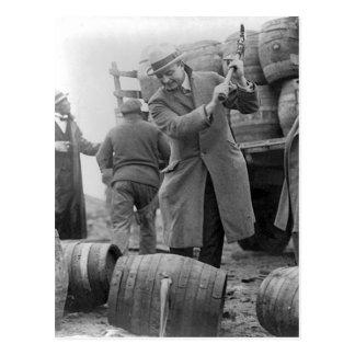 Destroying Kegs of Beer, 1924 Postcard