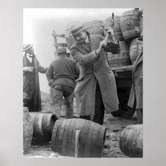 Destroying Kegs of Beer, 1924 Vintage Photograph Poster