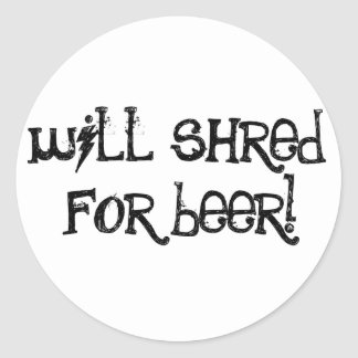 Destrozará para la cerveza pegatina redonda
