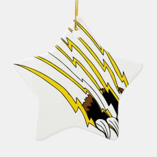 Destrozo de ataque de la garra de oso adorno navideño de cerámica en forma de estrella