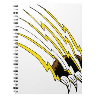 Destrozo de ataque de la garra de oso note book