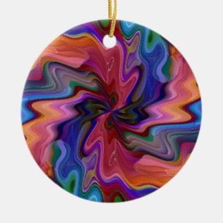 Destrozo del átomo adorno navideño redondo de cerámica