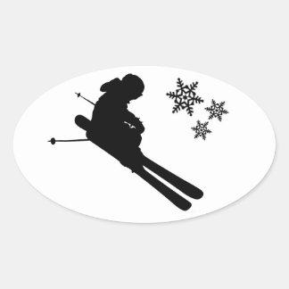 Destrozo del esquiador calcomanía óval personalizadas