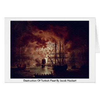 Destrucción de la flota turca de Jacob Hackert Felicitación
