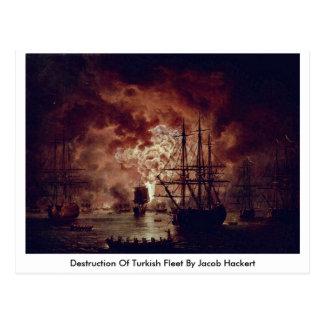 Destrucción de la flota turca de Jacob Hackert Tarjeta Postal