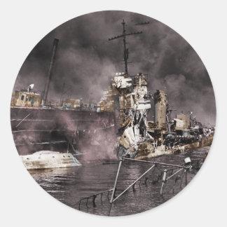 Destrucción de la nave pegatina redonda