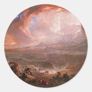 Destrucción de Pompeya y de Herculano Pegatina Redonda