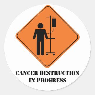 destrucción del cáncer en hoja del pegatina del