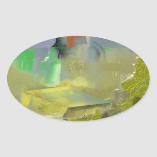 Destruction of Gold Abstract Oval Sticker