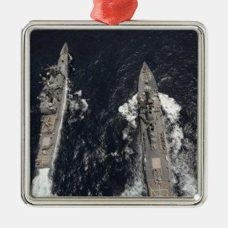 Destructor USS Gridley del misil teledirigido Adorno Cuadrado Plateado