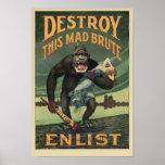 Destruya a este bruto enojado - reclutamiento del póster