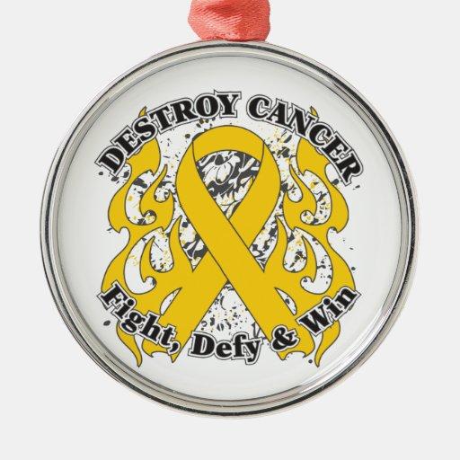 Destruya al cáncer de la niñez adorno redondo plateado
