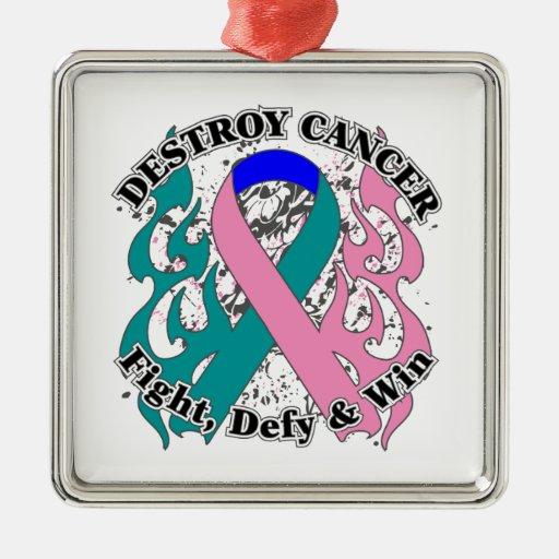 Destruya al cáncer de tiroides adorno cuadrado plateado