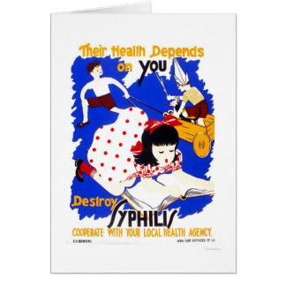 Destruya la sífilis WPA 1943 Tarjeta De Felicitación