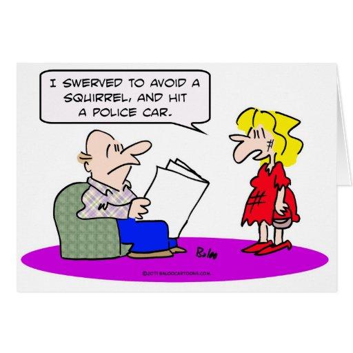 desviado evite el coche policía del golpe de la ar tarjeta de felicitación