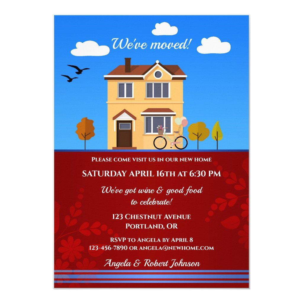 Detached House Cartoon Housewarming Invitation