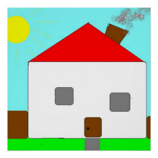 Detached House on a Sunny Day, Kids Art Poster